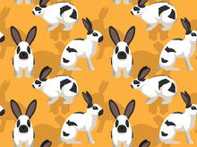 Rabbit Checkered Giant Cartoon Background Seamless Wallpaper