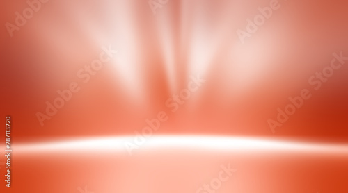 perspective floor backdrop red room studio with light red gradient spotlight backdrop background for display your product or artwork  - 287113220