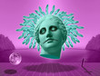 Leinwanddruck Bild - Halloween. Contemporary art concept collage with antique statue head of Venus in a surreal horror style.