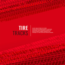 Red Background With Tire Track...