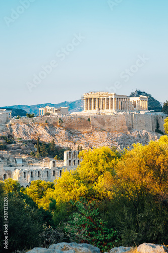 Acropolis ancient ruins from Filopappou Hill in Athens, Greece