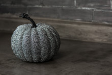 Isolated Glitter Gray Pumpkin On Counter