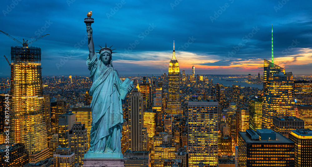 Fototapety, obrazy: The Statue of Liberty over the Scene of New York City cityscape in lower manhattan at the twilight time,Architecture and building with tourist concept, United state of America, USA