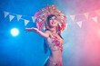 canvas print picture - Carnival, dancer and holiday concept - Beauty brunette woman in cabaret suit and headdress with natural feathers and rhinestones.