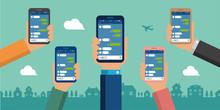 Hand Holding Smartphone Vector Banner Illustration /Chat App (SNS/message App)
