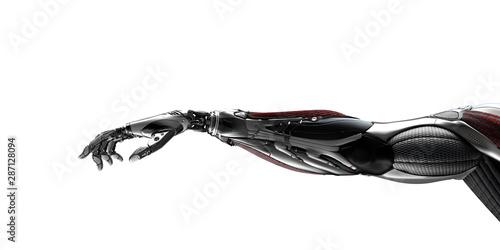 Robot arm flat background 3d render Obraz na płótnie