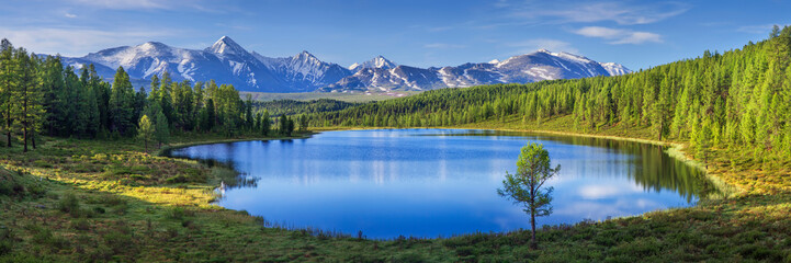 Mountain landscape, lake and mountain range, large panorama, Altai