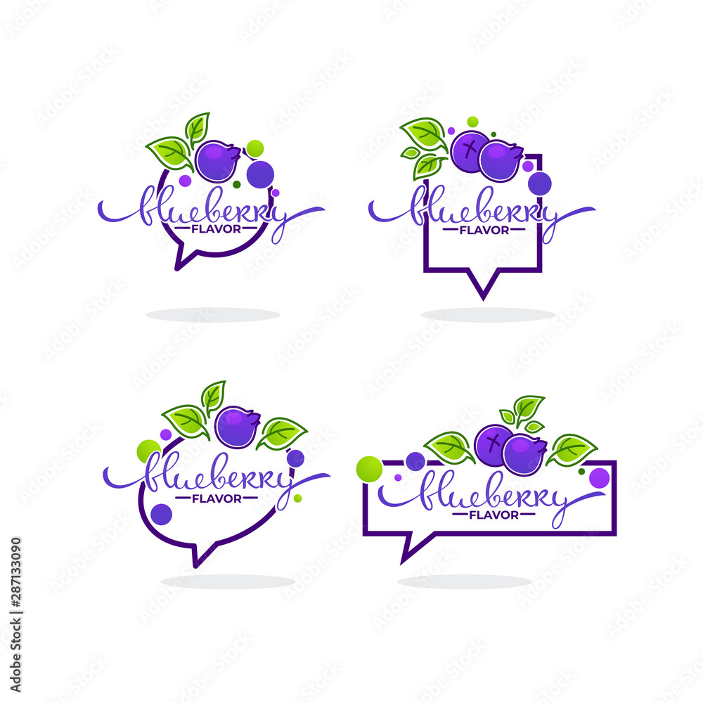 Fototapety, obrazy: blueberry flavor, doodle logo collection with berry symbols, leaves and lettering composition