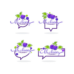 blueberry flavor, doodle logo collection with berry symbols, leaves and lettering composition