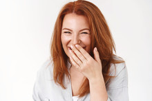 Redhead Middle-aged European Woman Giggle Cover Mouth Squinting Happiness Joy Enjoy Husband Making Jokes Having Fun Laughing Cheerful Friend Made Compliment Standing White Background