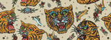Fototapeta Fototapety na ścianę do pokoju dziecięcego - Tigers seamless pattern. Old school tattoo. Asian wild cats heads. Traditional tattooing, japan art style