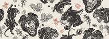 Black Panthers Head And Roses Flowers Seamless Pattern. Old School Tattoo Style. Wild Cats In Jungle, Animals Background. Traditional Tattooing Style