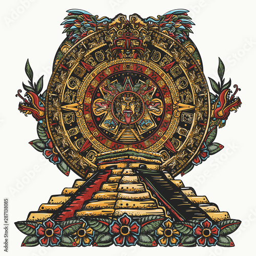 Cuadros en Lienzo  Aztec sun stone and pyramids Chichen Itzá and Kukulkan god (Feathered serpent)
