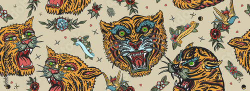Foto auf Leinwand Künstlich Tigers seamless pattern. Old school tattoo. Asian wild cats heads. Traditional tattooing, japan art style