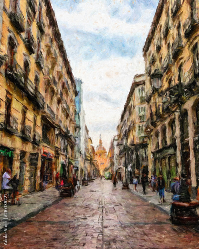Poster Havana Oil painting colorful old european street view. Digital drawing print for canvas, paper. Contemporary fine impressionism art. Postcard, poster, stationary design. Travel in Europe, beautiful houses.