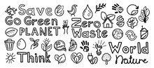 Hand Drawn Natural Go Green Doodle Icons