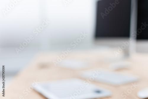 Obraz close up. blurred image of an office Desk - fototapety do salonu