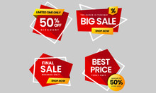 Set Of 4 Sale Banners In Red Color With Abstract Shape. 50% Off Discount, Big Sale, Final Sale And Best Price For Website, Banner, Advertisements, Blog, Stickers.Vector Illustration.
