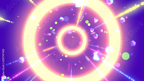 Purple neon geometric world with glowing icosahedrons, dots, stars, particles, rings, and light streaks effects. 3d rendering. - 287147405