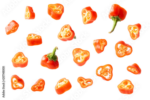 creative concept flying red chilli on white Wallpaper Mural