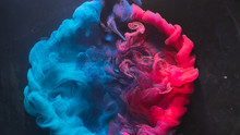 Ink Water Explosion. Harmony Balance. Blue Pink Acrylic Paint Spill. Abstract Art Background.