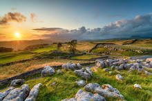 Dramatic Sunset Over Beautiful Scenery At The Winskill Stones