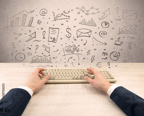 Foto auf Leinwand Natur First person view of an elegant businessman hand typing with doodle report and chart concept