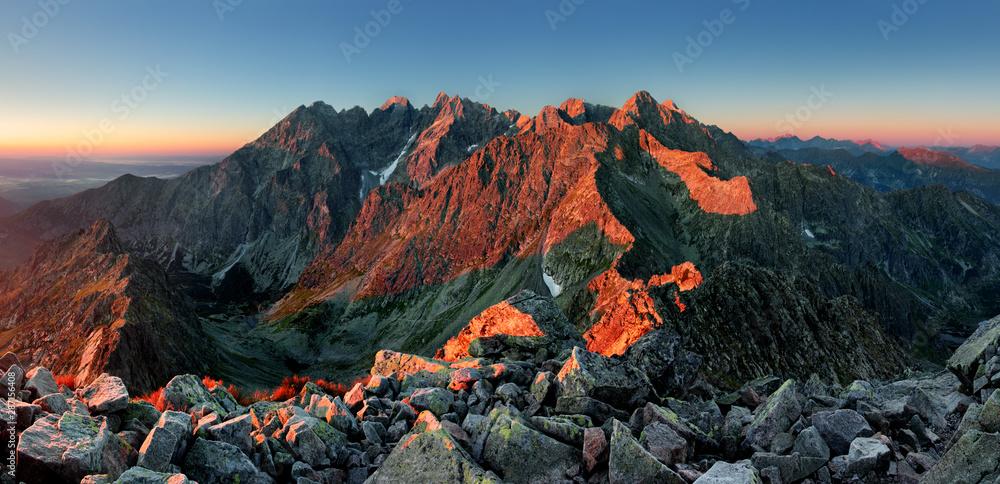 Fototapeta Mountain landscape in Slovakia tatras at sunset