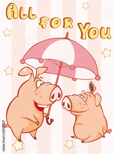Fotobehang Babykamer Happy Birthday Card Little Pig with Gift Pie. Vector Greeting Card. Happy Moment. Congratulation