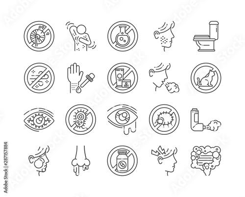 Allergy and symptoms line black icons set Canvas Print