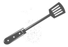 Kitchen Shovel. Black Illustration.