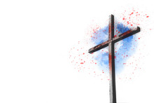Wooden Cross Sketch With Blood...