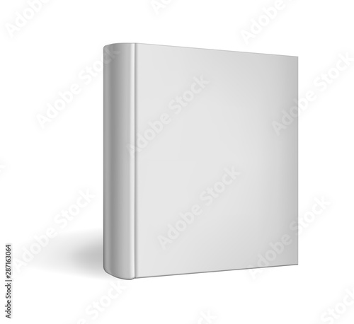 Fényképezés  Standing closed square hardcover book isolated on white background, realistic vector mockup