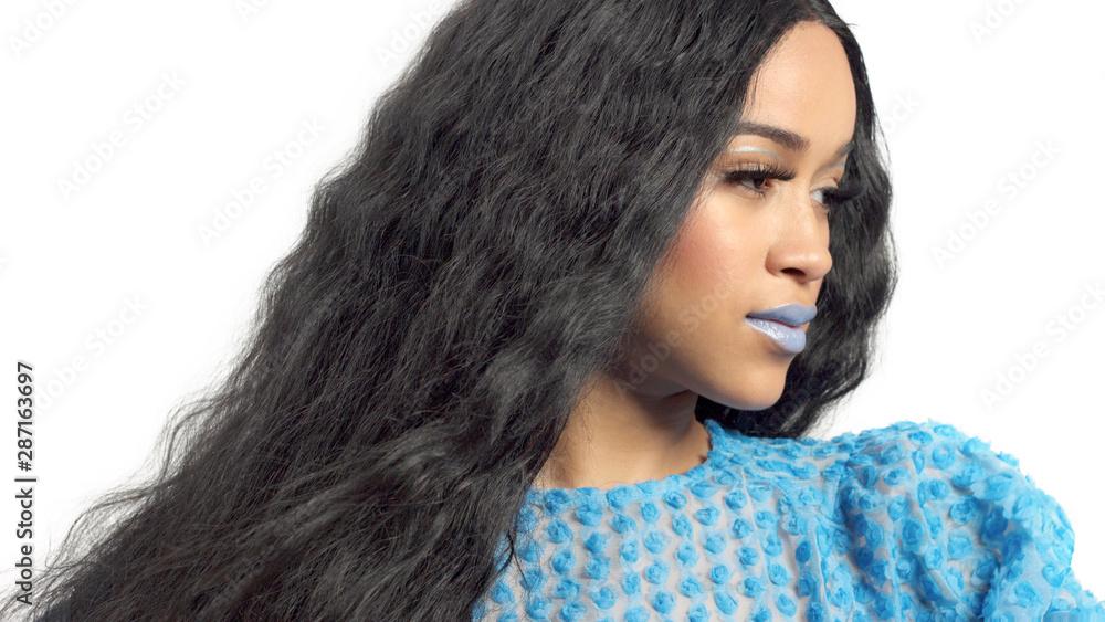 Fototapeta mixed race african american model watching aside has beauty profile