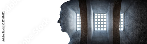 Fototapeta Silhouette of a male prisoner on the background of a prison cell
