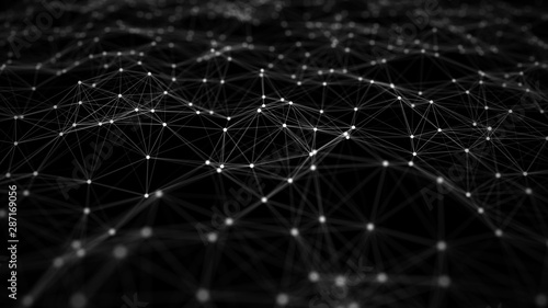 Network connection structure. Big data digital dark background. Science background with connected dots and lines. 3d rendering.