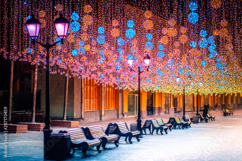 Russia. Moscow. Moscow streets are decorated for the new year. Christmas holidays in Russia. New Year. Winter pedestrian road. Christmas garlands of pedestrian streets. Traveling in Moscow at night.