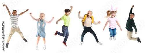 Different jumping children on white background Canvas Print