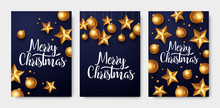 Christmas Greeting Card Set. Backgrounds With Christmas Lights And Decorations.