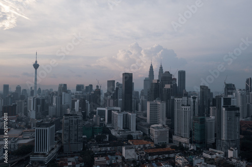 Canvas Prints Kuala Lumpur Aerial drone view of Kuala Lumpur city skyline during cloudy day