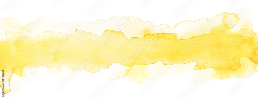Fototapeta light yellow watercolor strip with smooth paper texture for text and design