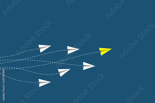 Leadership and competition concept, with yellow paper plane leading among white Fototapete