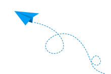 Blue Paper Plane Flying On Whi...