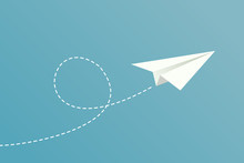 White Paper Plane Flying On Blue Sky Background