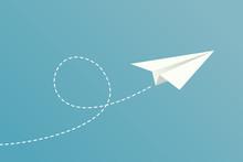 White Paper Plane Flying On Bl...