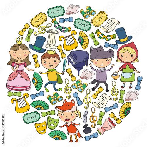 Poster de jardin Route Children theatre patterns. Elements for design on the theatre. Doodles. Vector. Kindergarten children.
