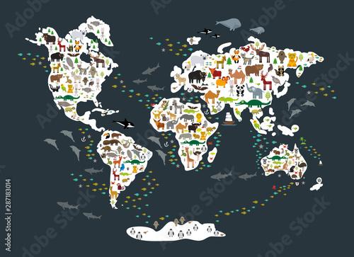 Fototapeta mapa świata dla dzieci  kreskowka-mapa-swiata-zwierzat-dla-dzieci-i-dzieci-powrot-do-szkoly-zwierzeta-z-calego-swiata