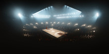 Professional Floodlit Basketball Arena With Spectators And Fans Cheering. High Angle View