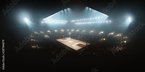 Papel de parede Professional floodlit basketball arena with spectators and fans cheering