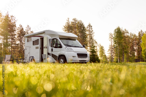 Photo Family vacation travel RV, holiday trip in motorhome
